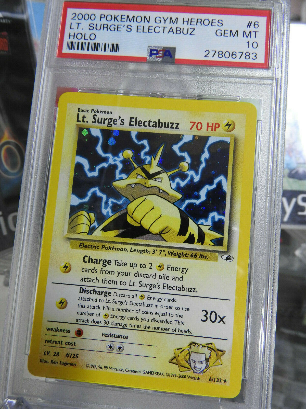Low POP Pokemon Card PSA 10 Lt Surges Electabuz HOLO 6132 Gym Heroes