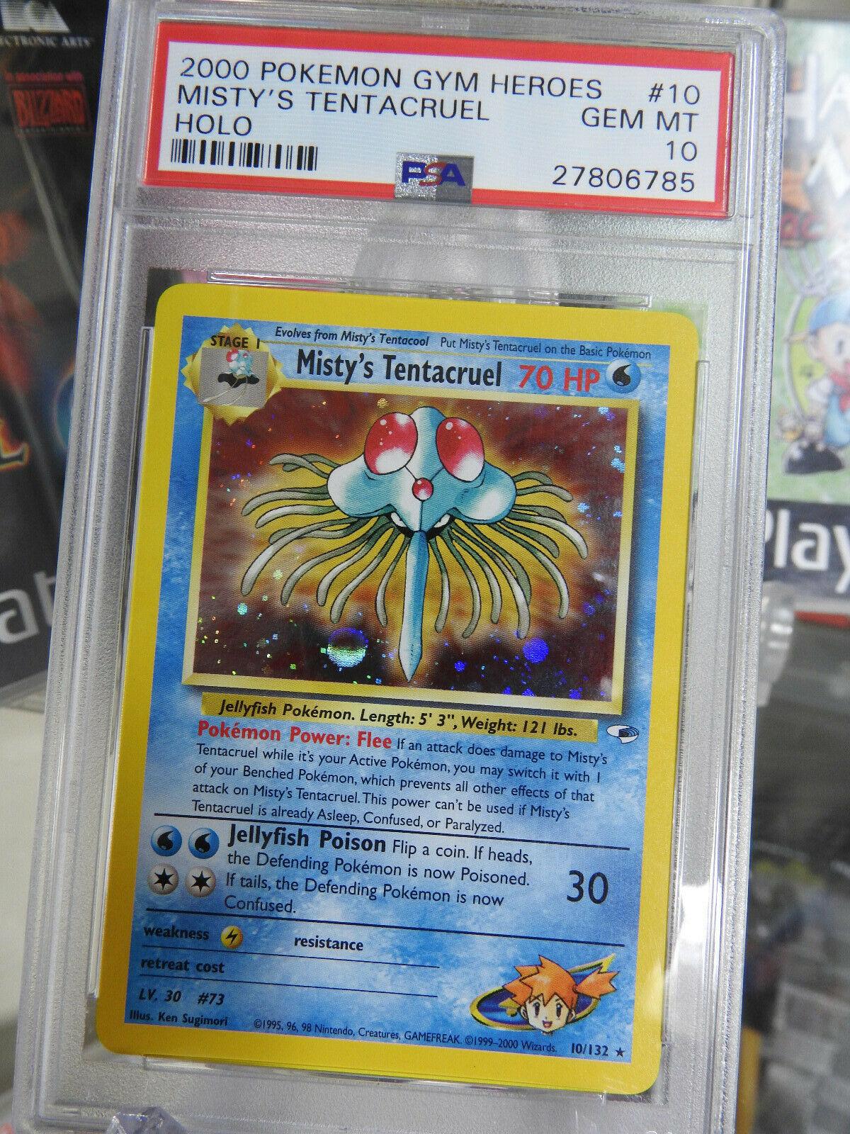 Low POP Pokemon Card PSA 10 Mistys Tentacruel HOLO 10132 Gym Heroes