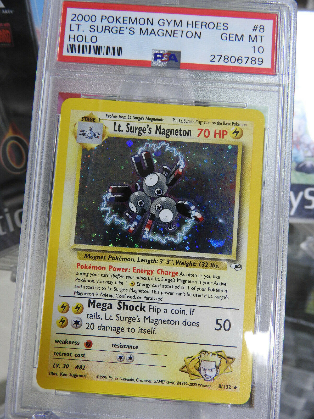 Low POP Pokemon Card PSA 10 Lt Surges Magneton HOLO 8132 Gym Heroes