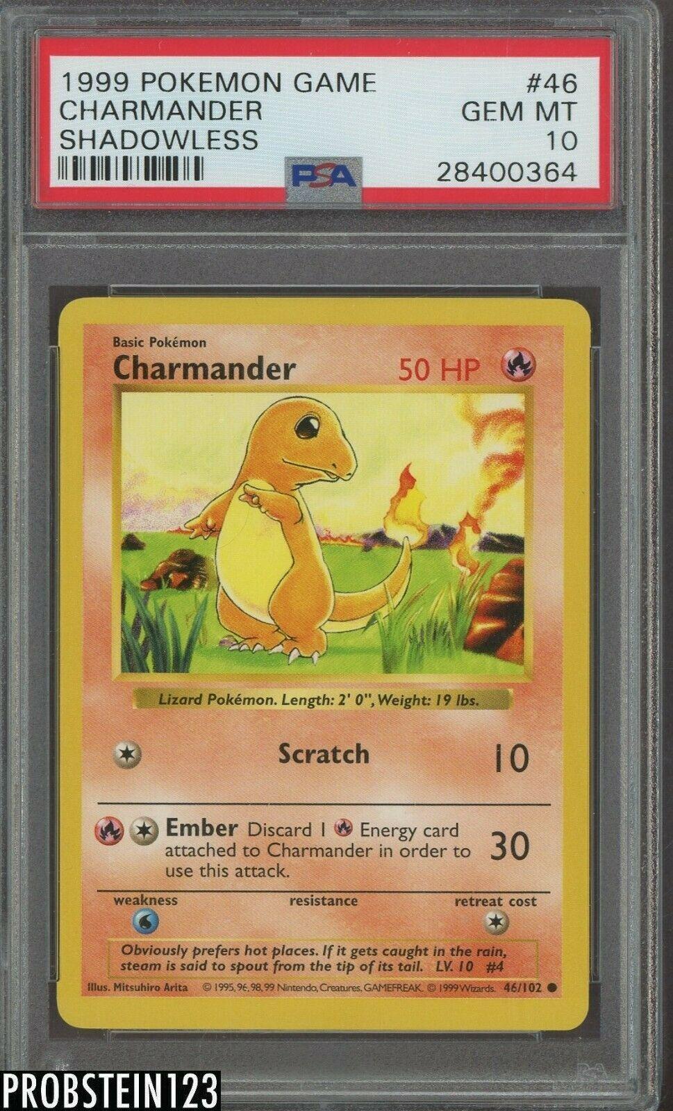 1999 Pokemon Game Shadowless 46 Charmander PSA 10 GEM MINT