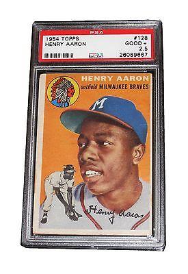 MLB HANK AARON 1954 TOPPS 128 ROOKIE RC TRADING CARD VERY RARE PSA 25