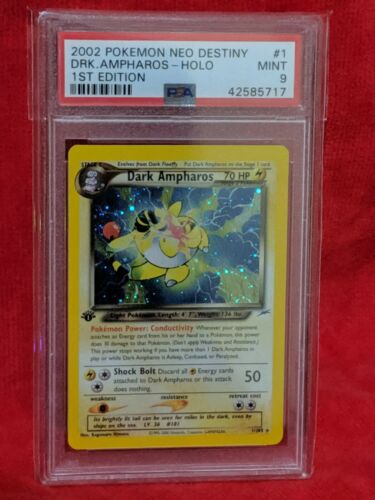Dark Ampharos 1st Edition 1105 Holographic Pokemon Card PSA 9