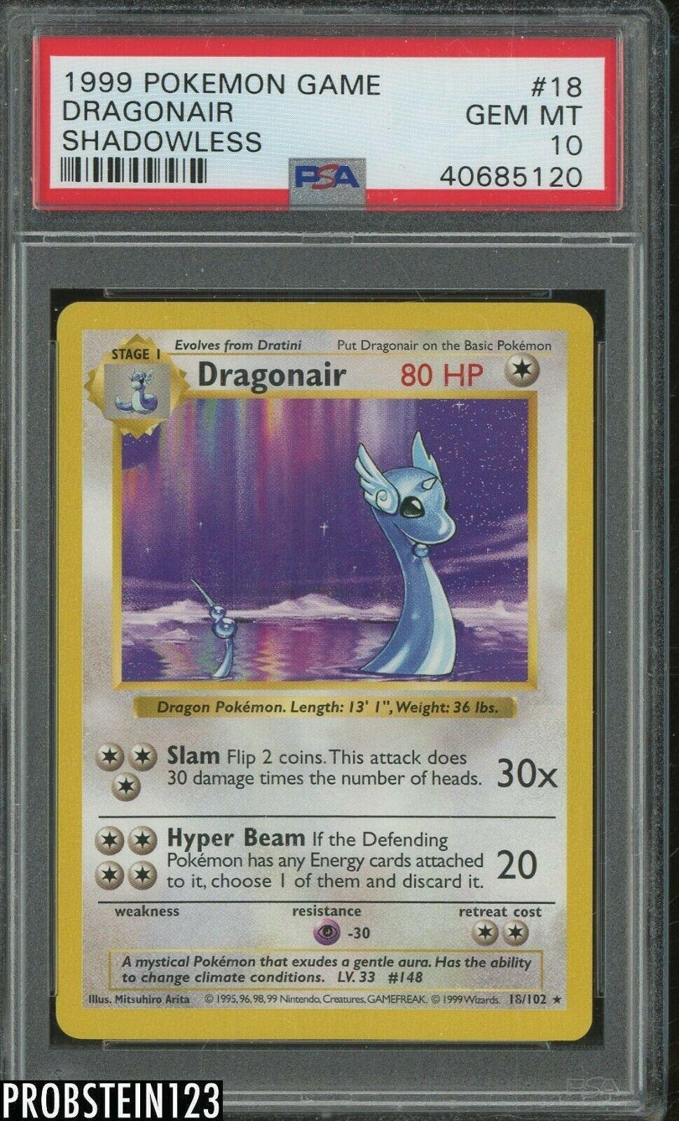 1999 Pokemon Game Shadowless 18 Dragonair PSA 10 GEM MINT