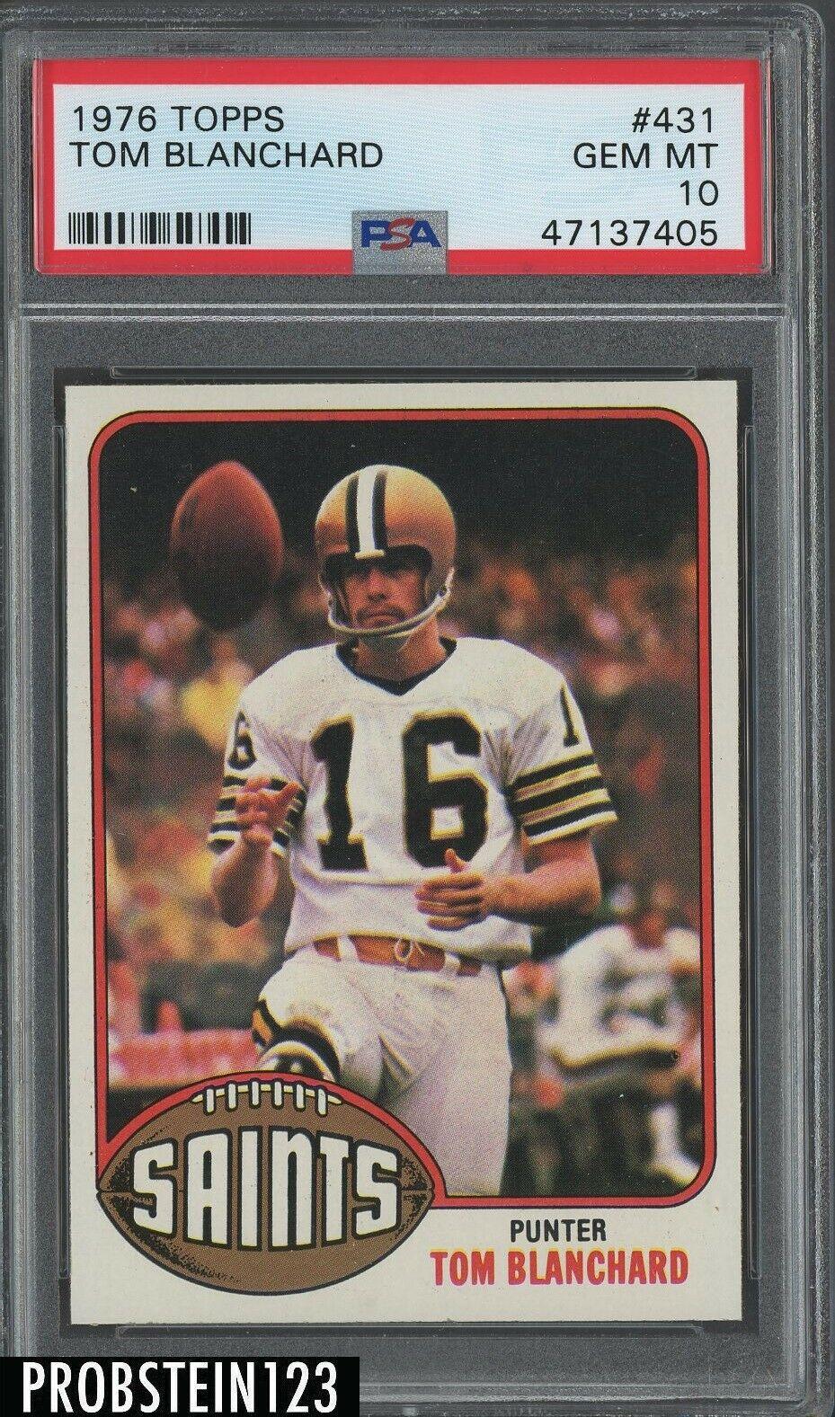 1976 Topps Football 431 Tom Blanchard New Orleans Saints PSA 10 GEM MINT