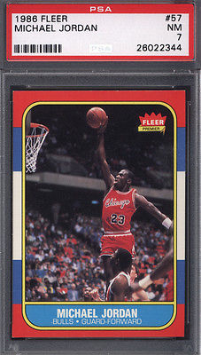 1986 Fleer 57 Michael Jordan Rookie HOF Bulls PSA 7 616001