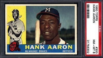 1960 Topps PSA 8 Set Break 300 Hank Aaron Braves PSA 8 Well Centered 617549