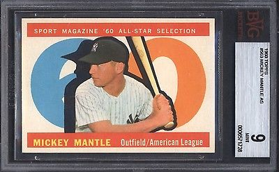 1960 Topps 563 Mickey Mantle All Star Yankees BGS BVG 9 Well Centered