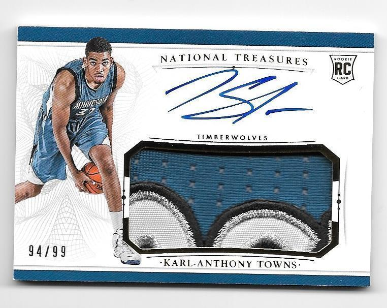 9499 KARL ANTHONY TOWNS 20152016 TREASURES AUTOGRAPH PATCH ROOKIE RC RPA 4CL