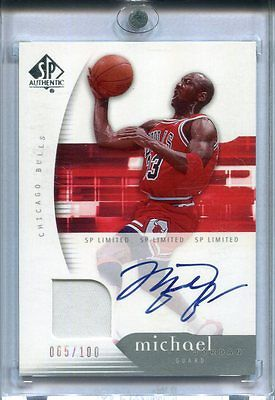 200506 SP AUTHENTIC MICHAEL JORDAN SP LIMITED AUTO JERSEY 065100 ON CARD