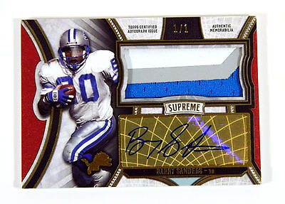 2015 Topps Supreme Autographed Jumbo Patches Red Barry Sanders 11 3 Color Auto
