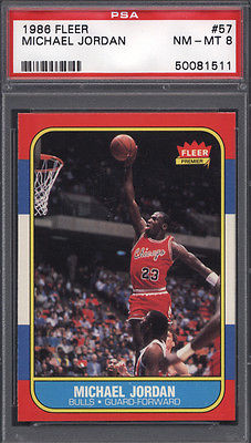 1986 Fleer 57 Michael Jordan Rookie HOF Bulls PSA 8 621684
