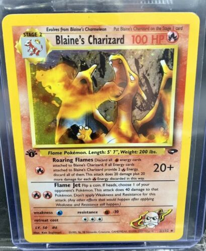 Pokemon Card 1st edition Blaines Charizard 2132MISPRINT CARDModerate Play