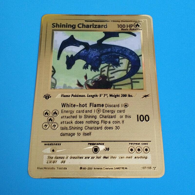 Pokemon Shining Charizard 1st Edition Gold Metal Custom Card  Rare and limited