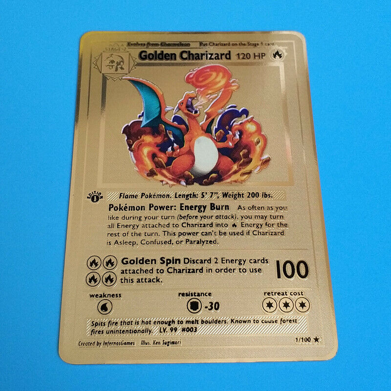 Pokemon Golden Charizard 1st Edition Gold Metal Custom Card  Rare and limited