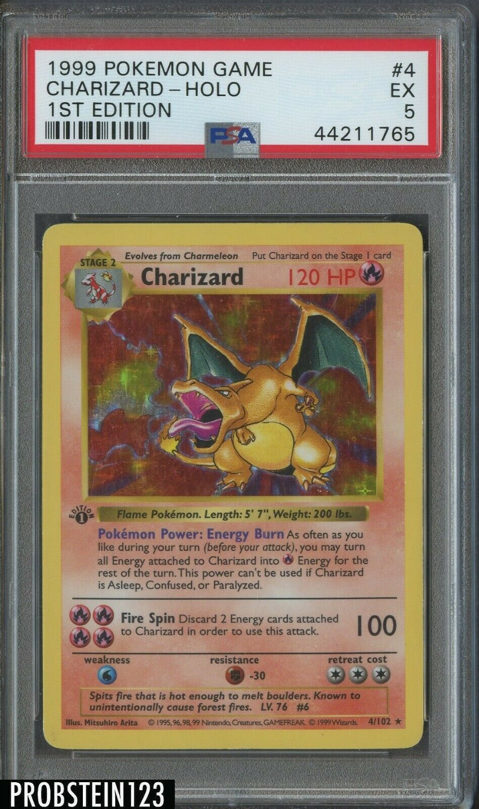 1999 Pokemon Game 1st Edition 4 Holo Charizard PSA 5 EX  HOT CARD