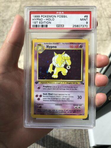 24 H AUCTION 1st Edition PSA 9 Holo Hypno 1999 Pokemon Fossil Mint