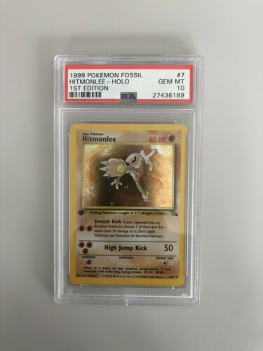 Hitmonlee 1st Edition PSA 10 Fossil Gem Mint Holo Pokemon Card Rare Low Pop