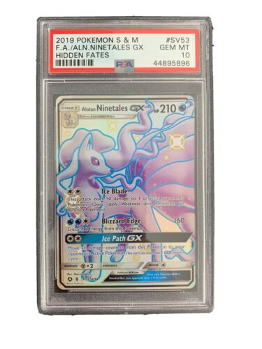 2019 Pokemon Alolan Ninetales GX SHINY SV53 Psa 10 Gem Mint Hidden Fates