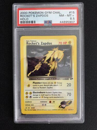 2000 Pokemon Gym Challenge Rockets Zapdos Holo 15132 PSA 85