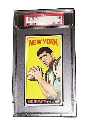 NFL JOE NAMATH 1965 TOPPS 122 TRADING CARD RC MUST LOOK VERY RARE PSA DNA VG 3
