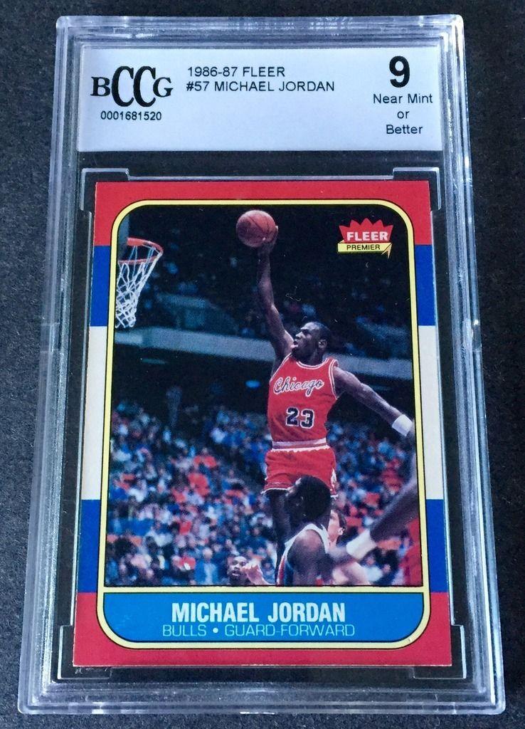 MICHAEL JORDAN 8687 1986 Fleer 57 RC ROOKIE CARD BCCG 9 NM CENTERED  SHARP