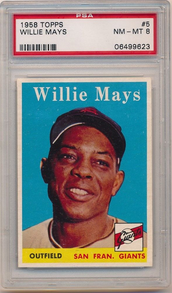 WILLIE MAYS 1958 TOPPS BASEBALL 5 SAN FRANCISCO GIANTS PSA 8 NMMT