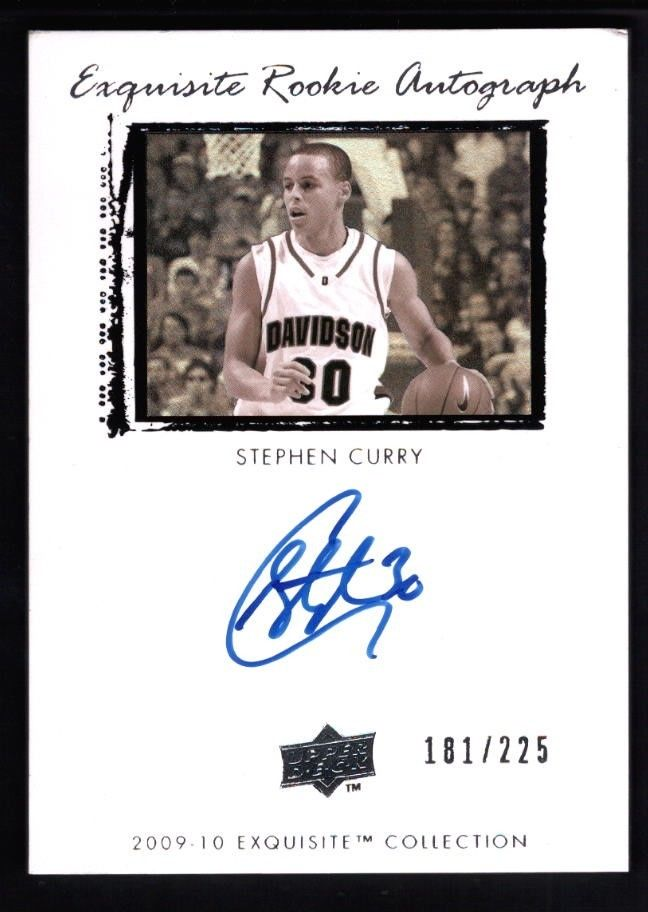 STEPHEN CURRY 200910 UD EXQUISITE RC ROOKIE ON CARD AUTOGRAPH SP AUTO 181225