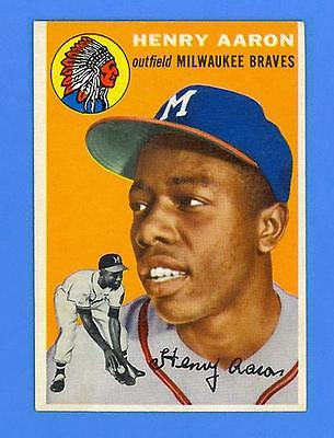 HANK AARON 1954 TOPPS 128  RC  MILWAUKEE BRAVES  BREATHTAKING SHARP