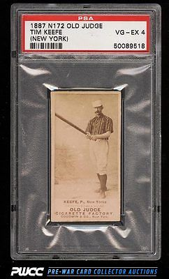 1887 N172 Old Judge Timothy Keefe BAT READY NEARLY VERTICAL PSA 4 VGEX PWCC