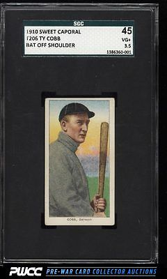 190911 T206 Ty Cobb BAT OFF SHOULDER SGC 3545 VG PWCC