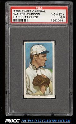 190911 T206 Walter Johnson HANDS AT CHEST SC FACTORY 42 PSA 45 VGEX PWCC