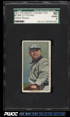 190911 T206 Cy Young CLEVELAND GLOVE SHOWS SGC 450 VGEX PWCC