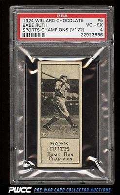 1924 V122 Willard Chocolate Sports Champions Babe Ruth 5 PSA 4 VGEX PWCC