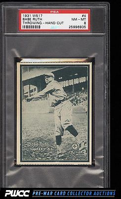 1931 W517 Strip Card Babe Ruth THROWING 4 PSA 8 NMMT PWCC