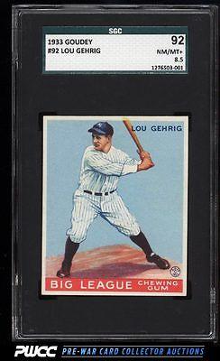 1933 Goudey Lou Gehrig 92 SGC 8592 NMMT PWCC