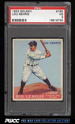 1933 Goudey Lou Gehrig 160 PSA 3 VG PWCC