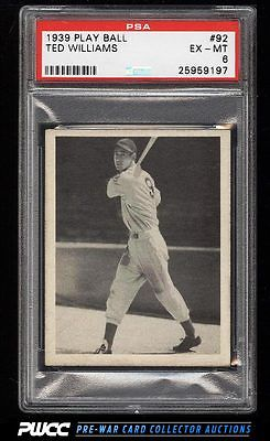 1939 Play Ball Ted Williams ROOKIE RC 92 PSA 6 EXMT PWCC