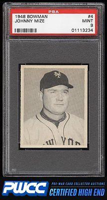 1948 Bowman Johnny Mize 4 PSA 9 MINT PWCCHE