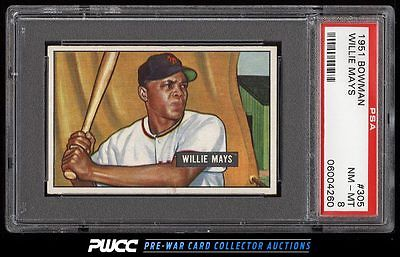 1951 Bowman Willie Mays ROOKIE RC 305 PSA 8 NMMT PWCC