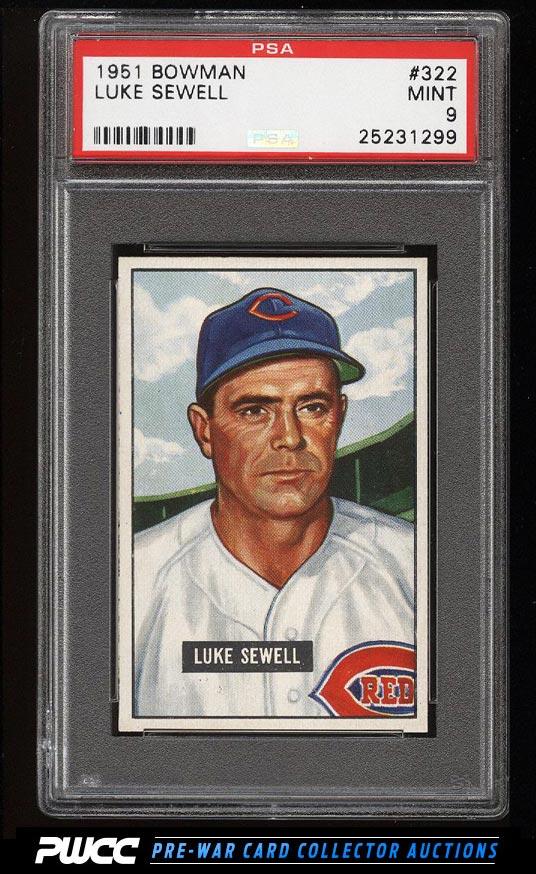 1951 Bowman Luke Sewell 322 PSA 9 MINT PWCC