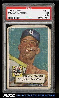 1952 Topps Mickey Mantle 311 PSA 1mk PR PWCC