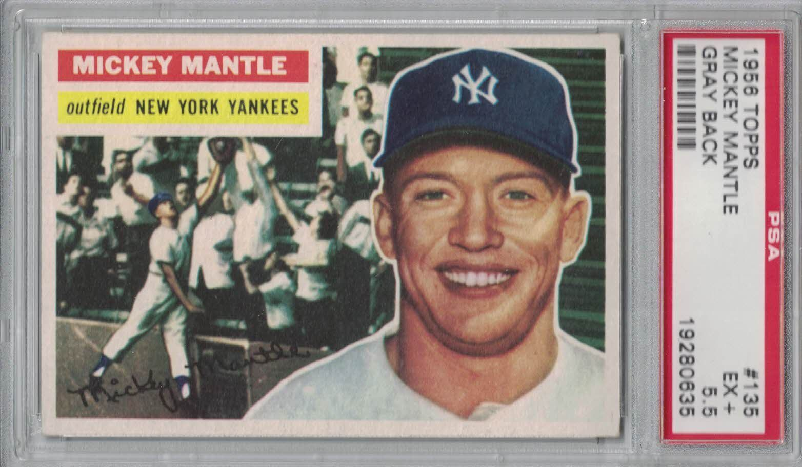 1956 TOPPS 135 MICKEY MANTLE PSA 55 EX