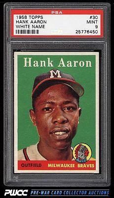 1958 Topps Hank Aaron 30 PSA 9 MINT PWCC