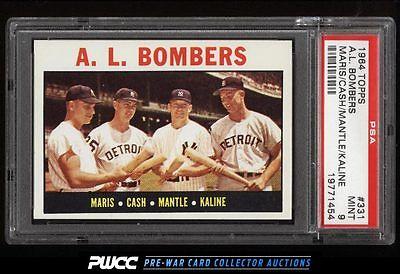 1964 Topps Mickey Mantle Roger Maris Kaline AL BOMBERS 331 PSA 9 MINT PWCC