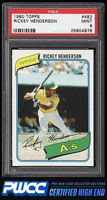 1980 Topps Rickey Henderson ROOKIE RC 482 PSA 9 MINT PWCCHE