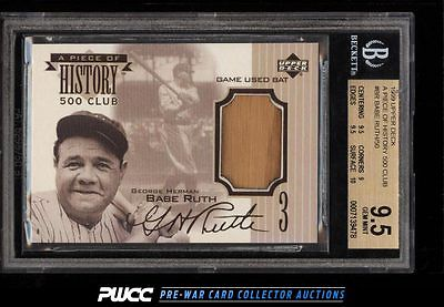 1999 UD A Piece Of History 500 HR Club Babe Ruth BAT PATCH BGS 95 GEM MT PWCC