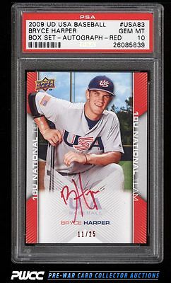 2009 UD USA Baseball Box Set Red Bryce Harper ROOKIE AUTO 25 PSA 10 GEM PWCC