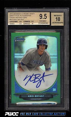 2013 Bowman Chrome Green Refractors Kris Bryant ROOKIE AUTO 75 BGS 95 PWCC