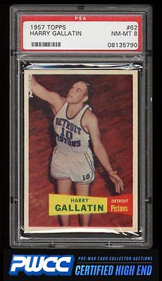 1957 Topps Basketball Harry Gallatin ROOKIE RC 62 PSA 8 NMMT PWCCHE