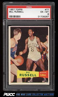 1957 Topps Basketball Bill Russell SP ROOKIE RC 77 PSA 6 EXMT PWCC
